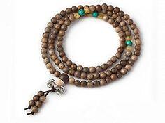 Natural Silkwood 108 Mala Rosary/Prayer Beads Elastic Bracelet/Necklace 5 - 8 mm * Visit the image link more details.