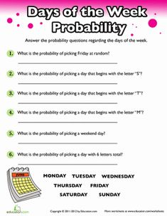 Fourth Grade Probability Fractions Worksheets: Probability: Days of the Week