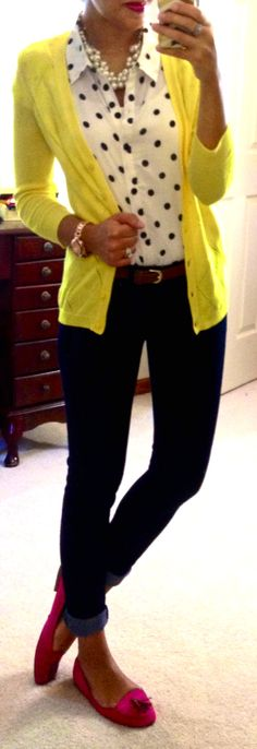 Polka dot blouse. Citron cardigan. Black skinnys.