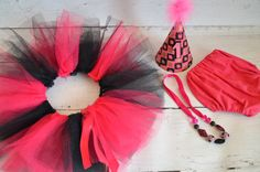 Pink and Black Cake smash outfit for girl with Tutu by AggCrafts, £44.99