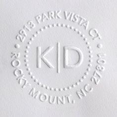 http://www.weddingpaperdivas.com/shop/white--custom-self-inking-stamps.htm  Embosser Dotted Division