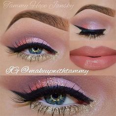 Valentine's Day Makeup Ideas: Shimmering Pink & Gold Eyeshadow with Pink Nude Lips Tammy Hope Jansky Gold Eyeliner, Gold Eyeshadow, Eyeshadow Tips, Eyeshadow Palette, Makeup Goals, Makeup Tips, Hair Makeup, Makeup Ideas, Elf Makeup