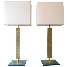 A pair of Italian Brass and Glass Table Lamps  1