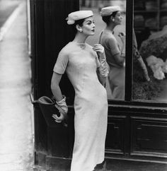 Anne St. Marie wearing dress by Givenchy, 1955