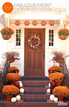 Add some flare to your front porch this autumn! Find fall inspiration for your front entry: http://www.bhg.com/halloween/outdoor-decorations/pretty-front-entry-decorating-ideas-for-fall/?socsrc=bhgpin092713frontentry