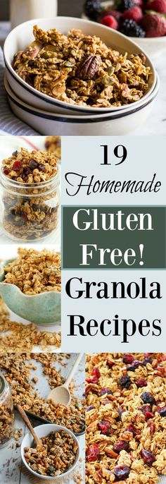 Trying to eat healthy while gluten free, but not sure what to eat? Don't worry, I've got you covered. Here's a list of the top 19 Homemade Gluten Free Granola R Cookies Gluten Free, Gluten Free Sweets, Gluten Free Cooking, Dairy Free Recipes, Healthy Gluten Free Snacks, Gluten Free Food List, Gluten Free Cereal, Healthy Recipes, Cooking Food