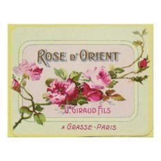 Vintage Perfume Label, Rose d'Orient, Paris