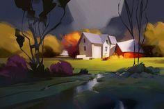 golden valley / sketch, Michal Sawtyruk on ArtStation at https://www.artstation.com/artwork/golden-valley-sketch: