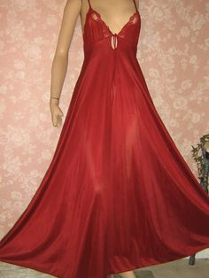 Wine Vintage Nightgown Long Full Sweep Keyhole Lacy by WeeBitUsed, $47.00