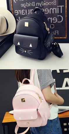cd6ddd2bb2 Cute Cartoon Cat Backpack Shoulder School Bags Casual Leather Kitty Rucksack