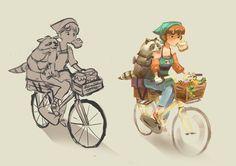#raccoon #bike #bicycle #girl #art #characterdesign