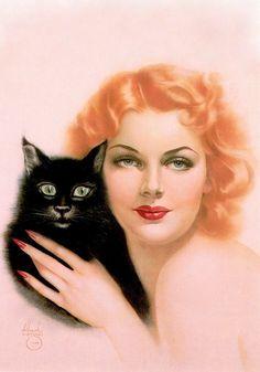 TWO CATS , Ann Sheridan. Aquarelle, Watercolour illustration, Aquarelle, 1939.  (detail of horizontal art) by ALBERTO VARGAS (1896-1982) From Vargas 20's-50's Taschen (please follow minkshmink on pinterest) #vargas #illustration #glamour #pinup #annsheridan #cat #blackcat