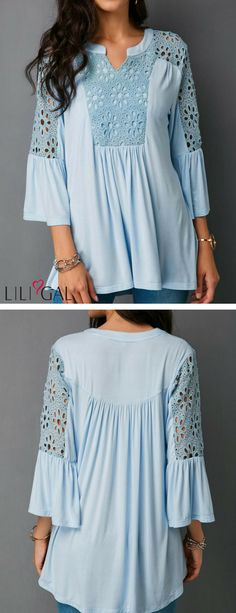 Lace Panel Split Neck Baby Blue Blouse   #liligal #blouse #shirts #top #womenswear #womensfashion