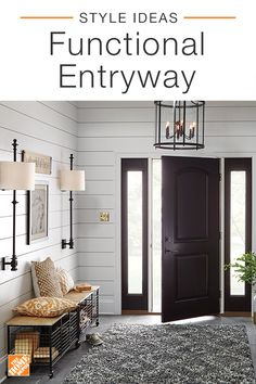 The entryway is the first room guests see in your home. Make a memorable impression by designing your space with seating that doubles as storage, light fixtures that command attention and beautiful wall art to welcome guests. Click to shop this look.