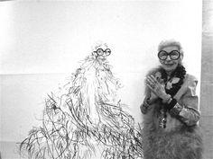 Iris Apfel with her portrait by Robert Knoke, New York 2013