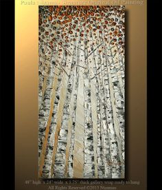 Original Birch Oil Painting Modern Oil Painting Birch by Artcoast, $350.00