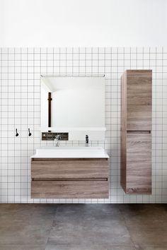 White tiled wall with wooden bathroom furniture and square mirror Bathroom Spa, Wood Bathroom, Laundry In Bathroom, Budget Bathroom, Bathroom Furniture, Bathroom Interior, Wood Sink, Bad Inspiration, Bathroom Inspiration