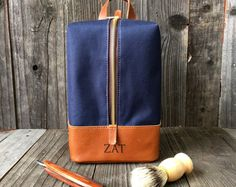 Hanging Toiletry Bag – Mens Dopp Kit – Personalized Dopp Kit – Navy & Tan – Men's style, accessories, mens fashion trends 2020 Leather Backpack, Leather Bag, Dopp Kit, Waxed Canvas, Toiletry Bag, Travel Bag, Cosmetic Bag, Creations, Mens Fashion