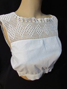 Vintage Cotton Camisole with Filet Crochet Yoke Diamond Design