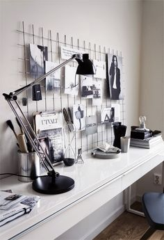 This is such a cool office space! I love the gridded mood board. Definitely thinking this is something I can add to my office so less is hanging on the walls.