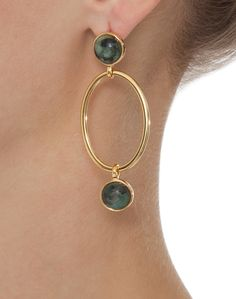 Emerald and Gold Linked Hoop Earrings | Claudia Lobao | Halsbrook