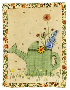 Here& some new pictures which I& just finished. I love gardens with rusty old pots and watering cans and thought this one looked nice wi. Applique Design, Hand Applique, Applique Patterns, Embroidery Applique, Applique Ideas, Art Patterns, Flower Embroidery, Embroidered Flowers, Embroidery Stitches