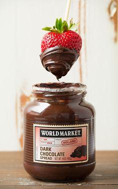 Fresh Fruit and Dark Chocolate Spread via Cooking Classy >> #WorldMarket #OutdoorEntertaining #WorldMarketLove4Outdoors