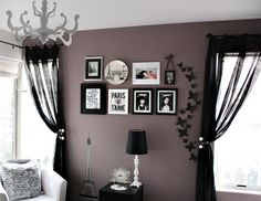Valspar Lilac Gray paint  Love the paint color! Don't care so much for the black curtains though.