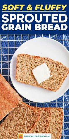 Learn how to make sprouted bread with this EASY bread recipe! Sprouted flour bread is light, flavorful, and full of goodness. Ezekiel Bread Recipe Easy, Ww Bread Recipe, Ancient Grain Bread Recipe, Sprouted Bread Recipe, Sprouted Grain Bread, Multi Grain Bread, Bread Maker Recipes, Vegan Bread, Easy Bread Recipes