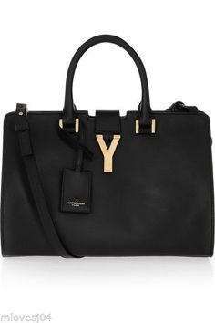 Yves Saint Laurent Black Leather Small Cabas Y Handbag