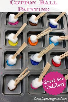Kids Activity: Cotton Ball Painting - fun toddler activity Domestic Mommyhood