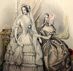 LE FOLLET 1845 Hand-Colored Fashion Plate #1233 BRIDE Wedding Dress MARIEE PRINT