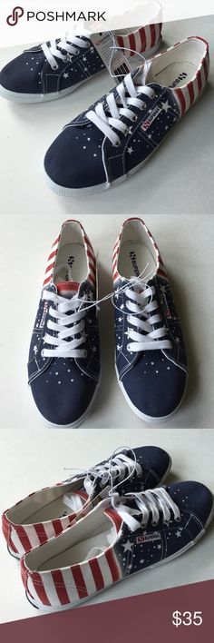 NEW Superga Fantasia flag shoes NEW with tags (no box) Superga Fantasia shoes. Rubber sole, cotton outsole. Euro Size 39 1/2 (US women's 8 1/2). Flag design 🇺🇸. Super cute canvas shoes!!! Superga Shoes Sneakers