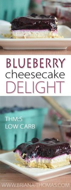 Blueberry Cheesecake Delight - perfect of July dessert! - family favorite made healthy - THM:S - Trim Healthy Mama - low carb - sugar free - gluten free - egg free nut free (Favorite Desserts Family) Mini Desserts, 4th Of July Desserts, Sugar Free Desserts, Dessert Recipes, Snacks Recipes, Weight Watcher Desserts, Low Carb Cheesecake Recipe, Blueberry Cheesecake, Healthy Cheesecake