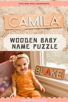Baby Name Puzzle by WoodilyToys. Personalized name puzzle is the best wooden toy for a baby. Eco-friendly Montessori toys. Handcrafted in the USA. Engraved Baby Gift Boy's Name Puzzle Gift for Godchild New Baby Boy Baptism Gift New Born Montessori Puzzle Gift Godson Name Dedication. 1st Christmas gift, Baby Christmas gift, Personalized Christmas baby gift, Kids Christmas gift #woodentoy #personalizedbabygift