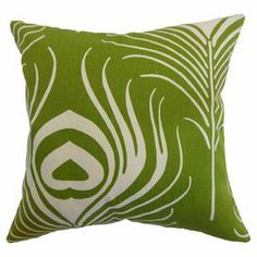 "Throw pillow with a peacock feather motif and down-feather fill. Made in the USA.     Product: PillowConstruction Material: Cotton cover and 95/5 down fillColor: GreenFeatures:  Insert includedHidden zipper closureMade in the USA Reversible with the same fabric on both sidesClean knife-edge finishDimensions: 18"" x 18""Cleaning and Care: Spot clean."
