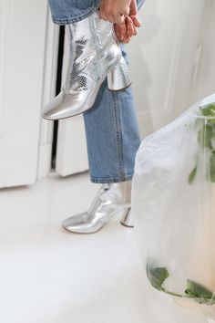 Put on your disco shoes! Disco Shoes, Put On, Designing Women, Designer Shoes, Ankle, Boots, Silver, Shopping, Crotch Boots