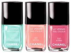 Le Vernis 517, 527 and 537 CHANEL nail polish in pastels. #fashion #nailvarnish #nailpolish
