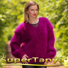 Boutique V neck mohair sweater in purple by by supertanya on Etsy