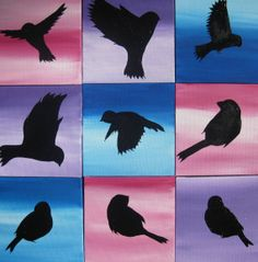 pink purple blue black bird painting abstract paintings 9 canvases no nails art small tiny unique birds gift present idea ideas custom made via Etsy