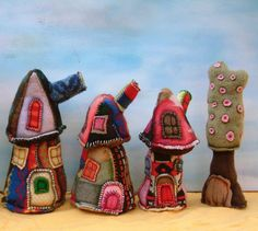 sweater art love ...little houses re-purposed sweaters...darling