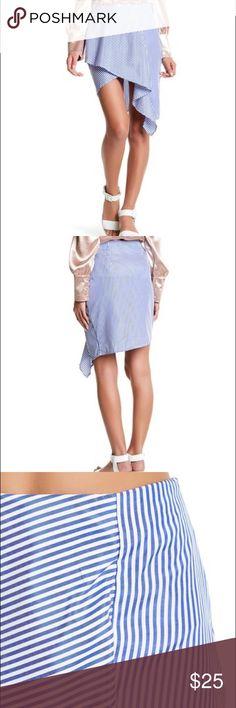 J.O.A. Poplin striped asymmetrical skirt NWT J.O.A. Poplin striped asymmetrical skirt. Brand new with tags! Size 12 and 8 available. J.O.A. Los Angeles Skirts Asymmetrical