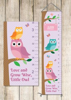 Owl growth chart on canvas personalized with child's name. Adorable way to track your child's height over the years!  $59.99 Growth Chart Wood, Growth Charts, Art Wall Kids, Art For Kids, Owl Nursery Decor, Personalized Growth Chart, Ocean Themed Nursery, Owl Kids, Owl Canvas
