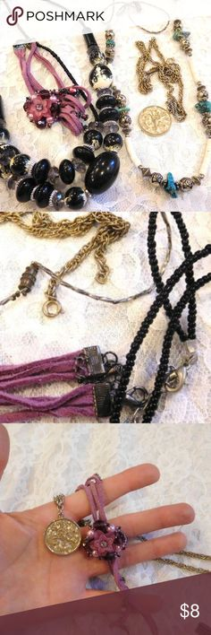 """Necklace LOT~Vintage~Leather~Western~Silver~Beaded Vintage Western Style Cowgirl Necklace LOT of 4 Weight: 110 grams combined Size: Choker (13"""") to long strand (appx 30"""") Handmade Purple Leather Choker, Sarah Coventry coin necklace, Turquoise/Silver tone with thin shell slices, Black plastic rock looking 2 strand beaded necklace Great instant collection Vintage Misc Designers Jewelry Necklaces"""