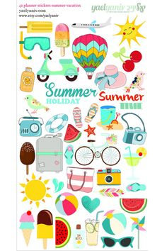 42 summer holiday Planner Stickers, Perfect for Erin Condren, Limelife, Plum Paper, the happy planner or Filofax Planner
