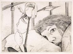Lucian Freud, Ill in Paris, 1948 Etching Drawing Prints, Printmaking, Figure Painting, Art Drawings, Drawings, Lucian Freud, Art, Architecture Tattoo, Figurative Art