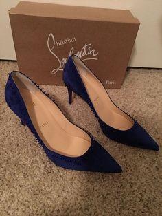 ENDING SOON:  Christian Louboutin Anjalina 38 Blue Suede 85mm NIB #shoes #designer