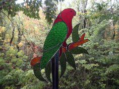 Stained glass king parrot suncatcher approx. 38cm x 25cm $75au plus post www.volcaniaartglass.com.au 96a Jenkins St Nundle