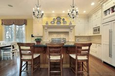 Wall color ideas for antiqued cabinets