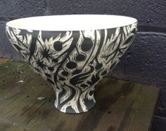 "Ceramic ""V"" Bowl with Light Botanical Hand Carved Pattern  // Ceramics and Pottery // Oxide Pottery // Lynchburg, Virginia"